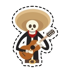 Isolated mexican male skull design vector