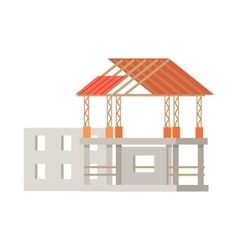 Building construction process of cottage house vector