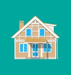 Suburban family house countrysdie brick building vector