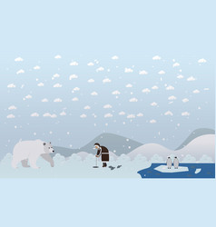 Eskimo and polar bear in vector