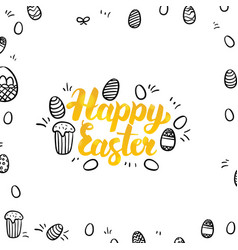 Happy easter gold greeting postcard vector