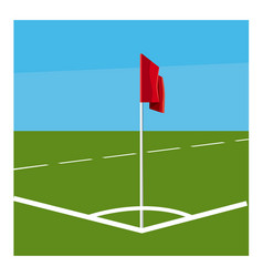 Soccer field corner with red flag icon vector