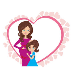 happy kid girl hugging pregnant mothers belly - vector image