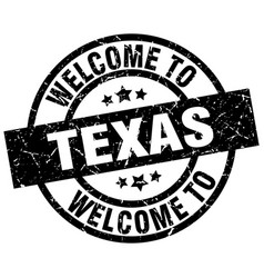 Welcome to texas black stamp vector