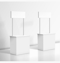 3d realistic blank white promo stand vector