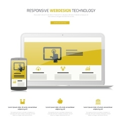 Responsive webdesign laptop and smartphone mock up vector