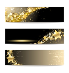 Set of banners with gold stars vector