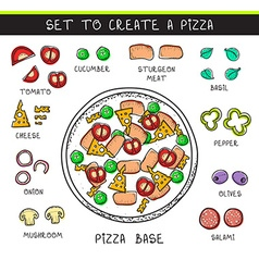Template doodle set ingredient to build pizza vector