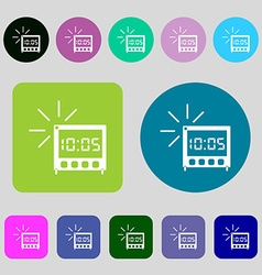 Digital alarm clock icon sign 12 colored buttons vector