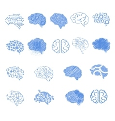 Brain icon set set vector