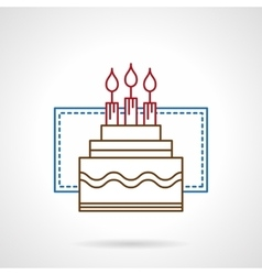 Flat color line birthday cake icon vector