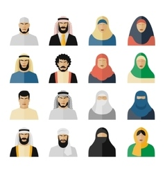 Arab people icons vector image