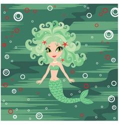 Mermaid cartoon vector image