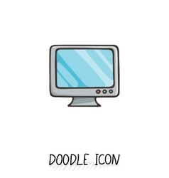 Doodle icon of monitor desktop computer vector