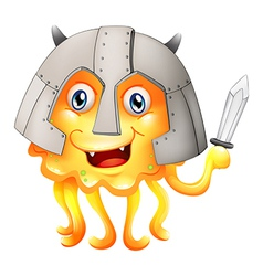 A monster with a sword and a helmet vector image vector image