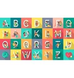 Alphabet Mobile People Flat Design Concept vector image vector image