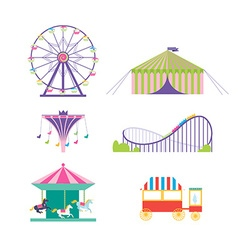 Amusement park set ferris wheel roller coaster vector