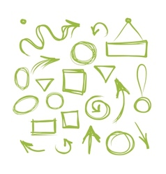 Arrows and frames sketch for your design vector image