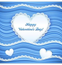 blue wavy Valentines Day background vector image vector image