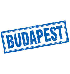 Budapest blue square grunge stamp on white vector