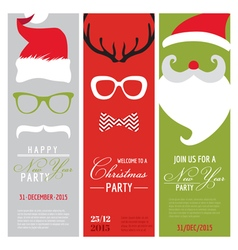 Christmas and New Year Retro Party Cards vector image vector image