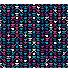 Colorful Skulls and hearts vector image vector image