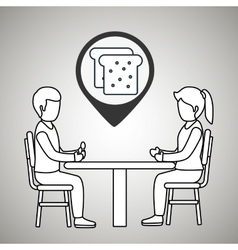 couple sitting dinner vector image vector image