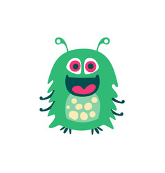 cute smiling green cartoon monster fabulous vector image vector image
