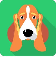 dog Basset Hound icon flat design vector image