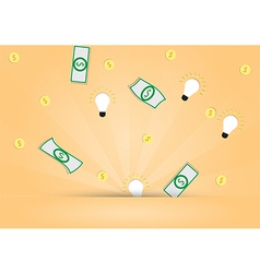 Dollar money and light bulb out from background vector