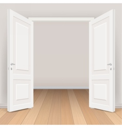 Double white open door in living room vector