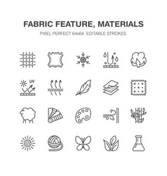 Fabric feature clothes material flat line vector