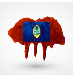 Flag of guam painted colors vector