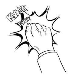 Hand knokning door coloring book vector