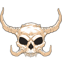 horned skull 001 vector image