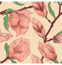 intage seamless pattern with magnolia flowers vector image vector image