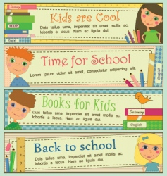 kids in school banners vector image vector image