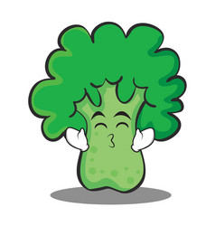 Kissing smile eyes broccoli chracter cartoon style vector