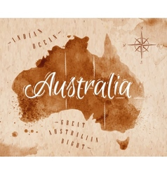 Map Australia retro vector image