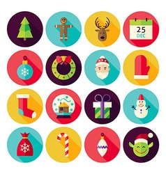 Merry christmas new year circle icons set with vector