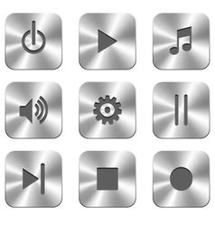 Metal buttons for media player vector image vector image