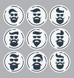 Monochrome hipsters faces set with different vector