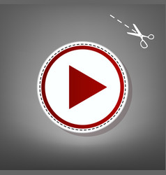 Play sign red icon with for vector