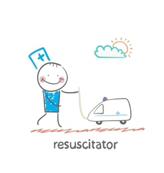 resuscitator played with toy ambulance vector image vector image