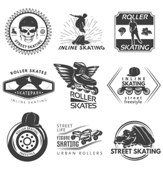 Roller Skating Black White Labels vector image