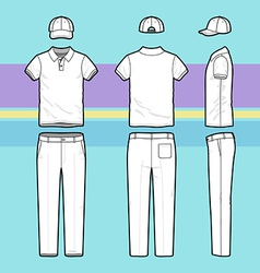 Simple outline drawing of a polo shirt pants and vector