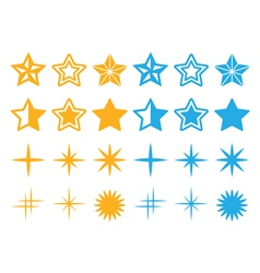 Stars yellow and blue stars icons set vector