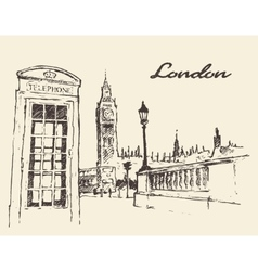 Streets in London England Bus Big Ben drawn vector image vector image