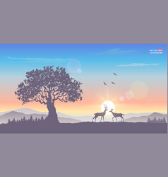 sunrise tree deer vector image vector image