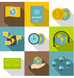 travel support icons set flat style vector image vector image